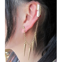 Пирсинг Ear cuffs (кафф) Бабочка с цепочкой и конусами, цвет золото производства Гонконг