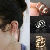 Ear cuffs (кафф) Трио-люкс цвет серебро