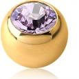 Шарик мед. сталь 1,2  покрытие золото 18 к. с камнем 2.5 мм
