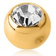 Шарик мед. сталь покрытие золото 18 карат с камнем для харда (без резьбы) / 5 мм / разные цвета