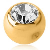 Пирсинг Шарик мед. сталь покрытие золото 18 карат с камнем для харда (без резьбы) / 4 мм / разные цвета производства Thailand