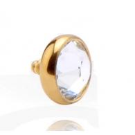 Накрутка 1,6 мм диск с кристаллом 8 мм покрытие золото 18 карат