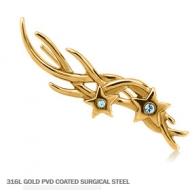 Серьга-клаймбер мед сталь покрытие золото 18 к. Звездочки с кристаллами / правое ухо