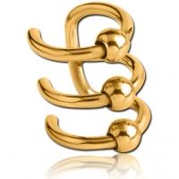 Пирсинг Обманка клипса кафф универсал три кольца с шариками покрытие золото 18 к.  производства Thailand