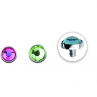 Пирсинг Накрутка 1,6 мм диск с камнем 3 мм / разные цвета производства Thailand
