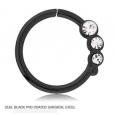 Кольцо 1,2 мм мед.сталь черная с декором камешки - L / 1,2*9