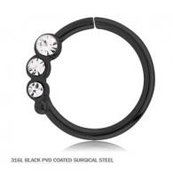 Кольцо 1,2 мм мед.сталь черная с декором камешки - R / 1,2*9
