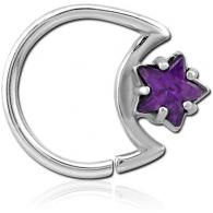 Кольцо 1,2 мм мед.сталь с декором звездочка - L / 1,2*10 / разные цвета