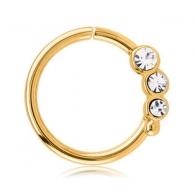 Кольцо 1,2 мм мед.сталь покрытие золото 18 к. с декором камешки - L / 1,2*9