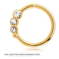 Кольцо 1,2 мм мед.сталь покрытие золото 18 к. с декором камешки - R / 1,2*9