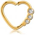 Кольцо 1,2 мм мед.сталь покрытие золото 18 к. сердце с декором камешки - L / 1,2*9