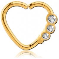 Пирсинг Кольцо 1,2 мм мед.сталь покрытие золото 18 к. сердце с декором камешки - L / 1,2*9  производства Thailand