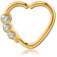 Кольцо 1,2 мм мед.сталь покрытие золото 18 к. сердце с декором камешки - R / 1,2*9