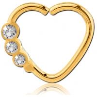 Пирсинг Кольцо 1,2 мм мед.сталь покрытие золото 18 к. сердце с декором камешки - R / 1,2*9  производства Thailand