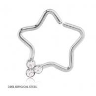 Кольцо 1,2 мм мед.сталь звезда с декором камешки / 1,2*9
