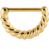 Штанга-кликер в сосок 1,6 мм мед. сталь покрытие золото 18 карат - косичка / 1,6*16