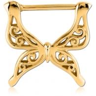 Штанга-кликер в сосок 1,6 мм мед. сталь покрытие золото 18 карат - бабочка / 1,6*16