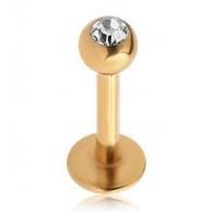Лабрет 1,2 мм покрытие золото 18 к. с камнем / 1,2*8*2,5