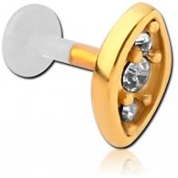 Лабрет 1,2 мм биофлекс вставка мед. сталь покрытие золото 18 карат три камня / 1,2*6