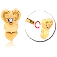 Микроштанга 1,2 мм мед. сталь покрытие золото 18 карат декор сердечки / 1,2*6*2,5