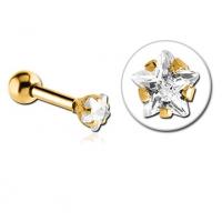 Пирсинг Микроштанга 1,2 мм мед. сталь покрытие золото 18 к. декор звездочка / 1,2*8*3 производства Thailand
