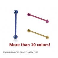 Микроштанга 1,2 мм титан шарики / 1,2*18*2 / разные цвета