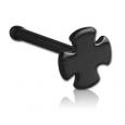 Гвоздик в нос черная медицинская сталь Мальтийский крест 0,8*6,5