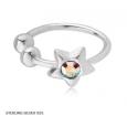 Обманка кольцо серебро со звездочкой с камнем 0,8*6 мм