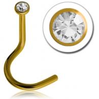 Нострила титан YE (желтый) с камнем мини /1,0*6,5*1,8 макси  / разные цвета