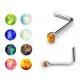 Нострила медицинская сталь L-образная опал 0,8*6,5*2,35 / разные цвета