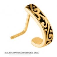 Серьга для пирсинга носа мед.сталь позолота 18 к. Египет 0,8*6,5