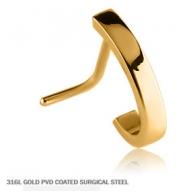 Серьга для пирсинга носа мед.сталь покрытие золото 18 к. классика 0,8*6,5