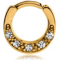 Септум кликер мед. сталь 316L позолота 18 к. кристалл дуга основа пять камней / 1,2*8