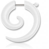Фейк спираль акрил со сквозной штангой цвет белый