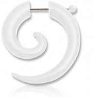 Пирсинг Фейк спираль акрил со сквозной штангой цвет белый производства Thailand