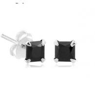 Пусеты (гвоздики) серебро квадрат 4 мм / разные цвета