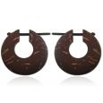 СЕРЬГИ ДЕРЕВЯННЫЕ кокос (круглые) ,пара / ICEL3