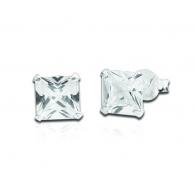 Пусеты (гвоздики) серебро квадрат 6 мм / разные цвета