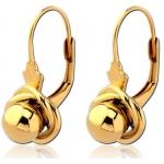 Серьги эксклюзив серебро с покрытием золото 18 карат -шарик в плетенке, пара