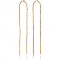 Серьги протяжки с фиксатором серебро с покрытием золото 18 карат - цепочки, пара