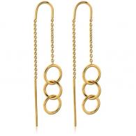 Серьги протяжки с фиксатором серебро с покрытием золото 18 карат - колечки, пара