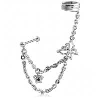 Ear cuffs (кафф) Бабочка с пусетом / мед. сталь
