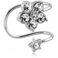 Ear cuffs (кафф) цветок со звездочкой - мед сталь