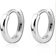 Серьги кольца серебро 925 с фиксатором 8 мм, пара