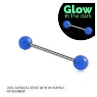 Штанга 1,6 мм мед.сталь - шарик UV светонакопительный 6 мм / разные цвета
