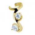 Ear cuffs (кафф) Виток с камнем 537 - мед. сталь покрытие золото 18 карат