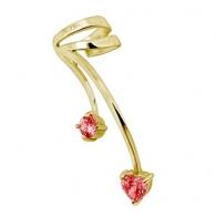 Ear cuffs (кафф) Сердечки - покрытие золото 18 карат / ухо левое