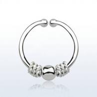 Обманка кольцо серебро 925 пробы с дизайном балийской проволоки с шариком AGSEP12C/ 1,0*12