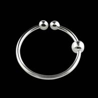 Обманка кольцо с шариком боковым серебро 925 проба калибр 0,8 мм / разные размеры
