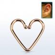 Обманка клипса для хеликса Сердечко серебро с покрытием розовое золото 18 карат